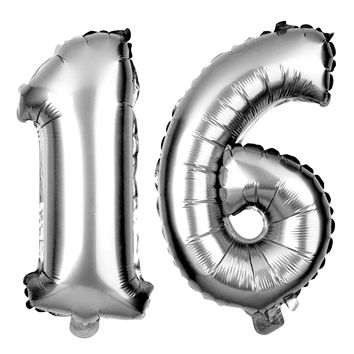 16 Number Balloons - 40 Inch Silver