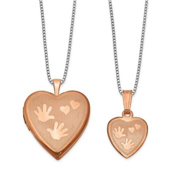 925 Sterling Silver Rose Gold-plated Polished Satin Hand and Hearts Locket & Pendant Set