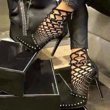 Silver Studded Cut Out Caged Ankle Boots