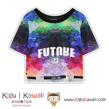 New Colorful Future Design Tshirt Harajuku Tops Hanging Shirt KK842