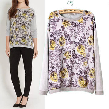 Floral Long Sleeve Knitted Sweater
