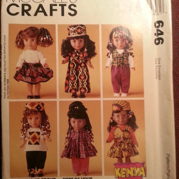 Uncut 1994 McCall's Sewing Pattern, 646! Kenya Growing Up Proud Doll/Doll Wardrobe/Clothes/Stretch Knits/Jumpsuit/Shirts/Skirts/Pants/Hats