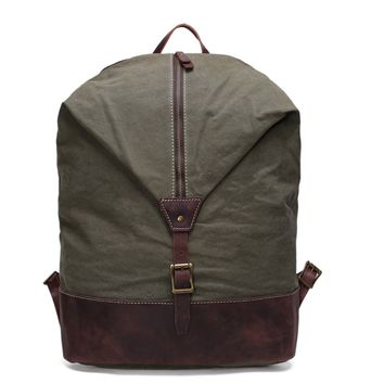 BLUESEBE UNISEX WAXED CANVAS WITH LEATHER TRIM BACKPACK YD2108