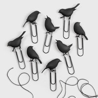 "Fred & Friends Birds on a Wire Photo Clips | fredflare.com.  Clothesline is about 36"" and birds approximately 2"""
