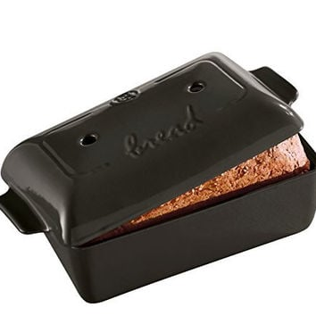 "Emile Henry Made In France Flame Bread Loaf Baker, 9.4 x 5"", Charcoal"