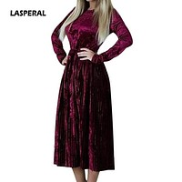 LASPERAL 2018 Spring Autumn Women Velvet Dress Long Sleeve O neck Vintage Retro Dresses Elegant Party High Waist Slim Vestidos