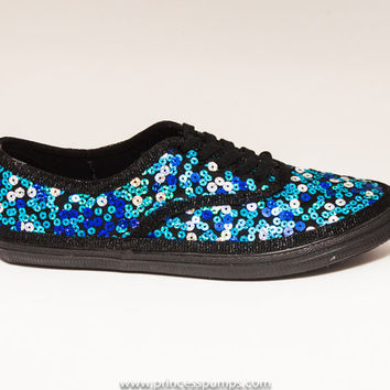 CVO Peacock Speckle on Black Sequin Sneaker Tennis Shoes