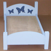 handcrafted doll furniture American Girl  doll size bed blue with butterfly design