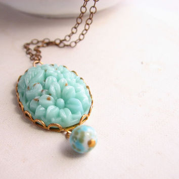 Mint pastel spring necklace with vintage art glass by shadowjewels