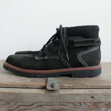 Vintage 90s Black Suede Ankle Boots with Knit Trim | women's 8