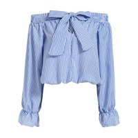 ONETOW Vogue Summer Feminine Off Shoulder Tops Long Sleeve Slash Neck With Bow Vertical Striped Crop Women Blouse