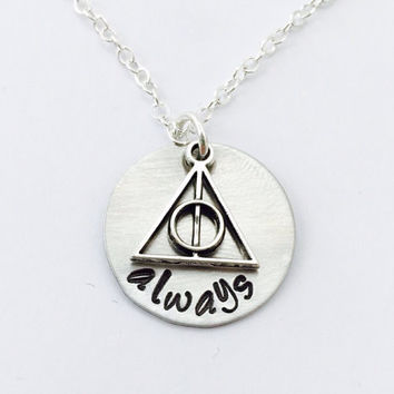 Harry Potter After All This Time Always Necklace Hand Stamped Dumbledore Snape Cosplay Geekery Comicon Wizarding