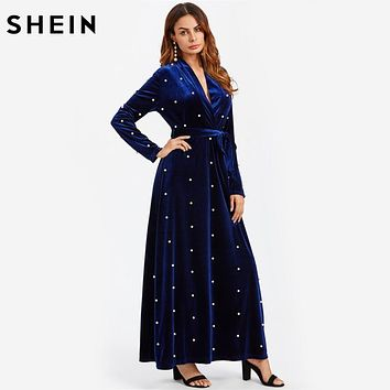 SHEIN Pearl Beaded Surplice Wrap Plunging A Line Velvet Dress Royal Blue Deep V Neck Elegant Sexy Long Sleeve Maxi Dresses