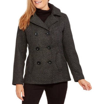 Faded Glory  Double-Breasted Faux Wool Peacoat w Hood, Black/Gray, 2x