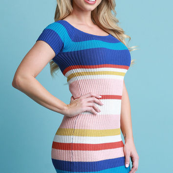 Sweater Knit Striped Bardot Bodycon Dress | UrbanOG