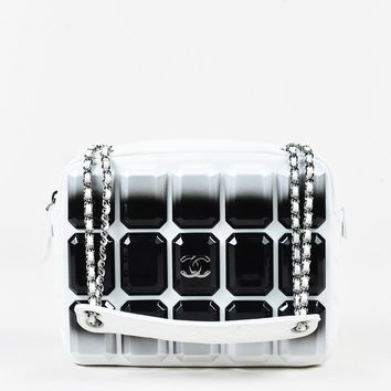 "Chanel White Lambskin Black Studded ""Evening Art Flap"" Bag"