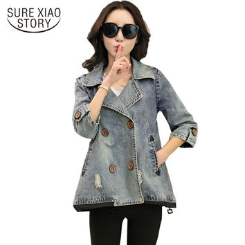 New Arrival Denim Jacket Women 2016 Fashion Spring Basic Jacket Women Plus Size Jeans Jacket Coat Tops 85G 25