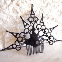 Goth Neo Victorian Hair Comb black Gothic clock by EJPcreations
