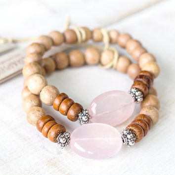 Rose quartz crystal bracelet, silver and rosewood, Healing crystals and stones, Reiki jewelry, Love stone bracelet, Pink quartz bracelet