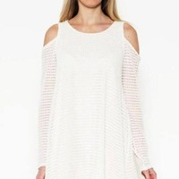A Perfect Blend Cold Shoulder Waffle Knit Dress - FINAL SALE!