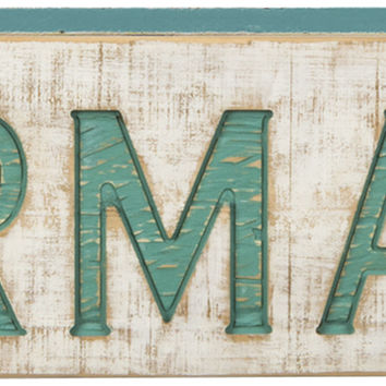 Vintage Carved Mermaids Sign with Weathered Painted Finish and Aqua Carved Lettering - 26-in