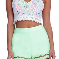 Lime Scalloped Shorts