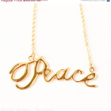 VALENTINES DAY SALE Peace handwriting 10k gold plated Christmas necklace