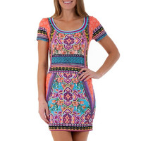 (amy) Paisley and flowers colorful orange dress