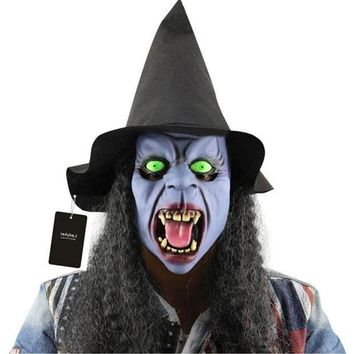 Horror Haunted Latex Halloween Witch Mask Party Cosplay Props Supplies