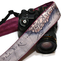 World Map Camera Strap. Vintage Camera Strap. Photo camera Accessories. SLR, DSLR Camera Strap. Gift For Photographer.
