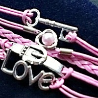 Infinity Heart Pearl Love Key Buckle Leather Charm Bracelet Plated Silver Pink Hot Fashion Loom Bands 5-in-1 Kids Gifts Girls Tween