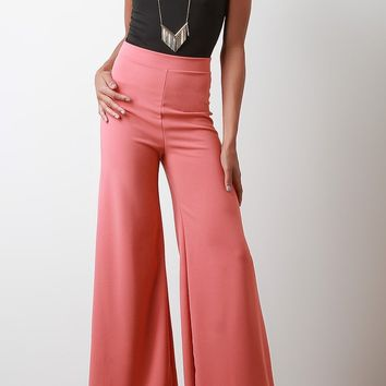 Zipper Back Wide Leg Pants