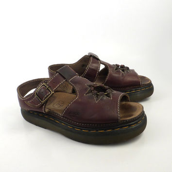 Doc Martens Shoes Sandals 1990  Brown Leather  UK size 7 Women's US size 9 Made in England