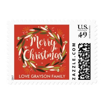 Christmas Wreath Personalized Postage Stamp