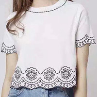 White Embroidered Short Sleeve Cropped T-shirt