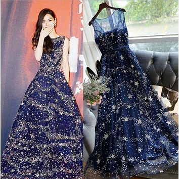 LMFIH3 Banquet evening dress spring and summer new wedding dress bride Slim thin company annual meeting long section of the stars sleeveless dress female