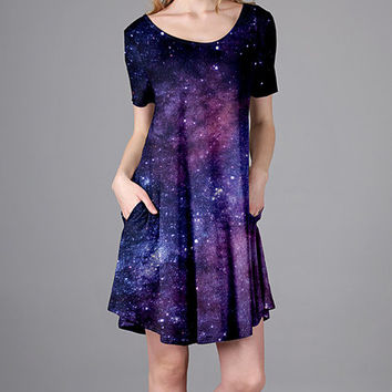 Purple Outer Space Side-Pocket Short-Sleeve Dress - Plus Too