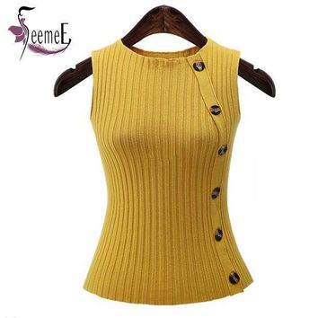 PEAPHY3 SeemeE Knitted Women Tank T Shirts Knitting Button Elastic Autumn Pullover Female Tops New Arrival 2016 Tees T-Shirts