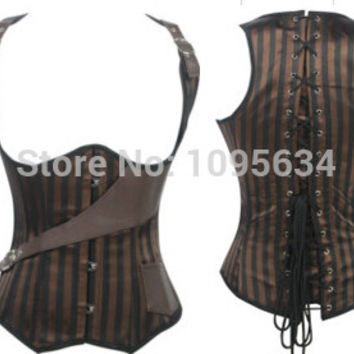 free shipping  ladies sexy underbust cincher brown stripe steam punk corset  S - 2XL