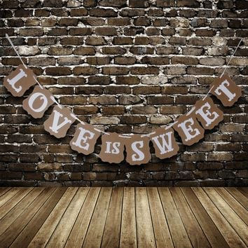 Rustic LOVE IS SWEET Sign Bunting Banner Garland Photo Decoration Cute