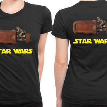 DCCKG72 Star Wars The Force Awakens Traditional Transportation 2 Sided Womens T Shirt