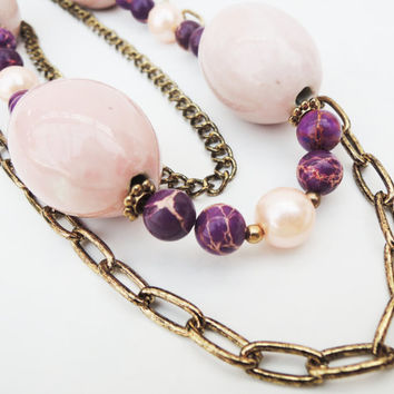 Pink, Gold, and Magenta Long Triple Necklace Handmade by Lindsey - Antiqued Gold - Magenta and Pink Magnesite Beads - Indian Inspired