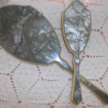 Art Deco Style Gray Marbled Celluloid Mirror Brush Vanity Dresser Set Vintage