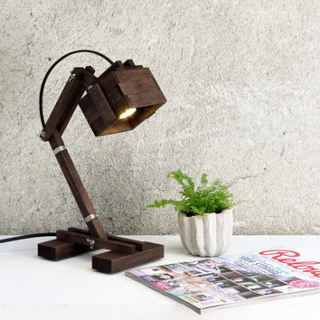 Kran VI, desk lamp black adjustable wooden desk table working lamp gift unique style lighting boutique simple design minimalist, Paladim