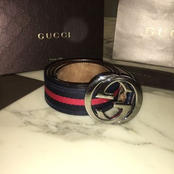 Men 100% Authentic GG-buckle canvas Gucci Red&Navy Belt RRP £245