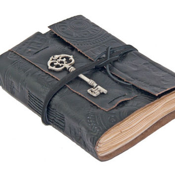 Embossed Black Leather Journal with Tea Stained Paper and Key Charm Bookmark - Ready to Ship