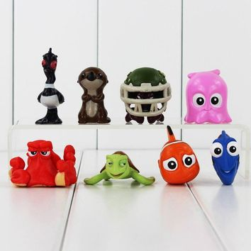 8pcs/lot Finding Nemo Figure Toy Nemo Dory Hank Crush Turtle Otters Bird Clownfish Animal Model Toy Christmas Gift