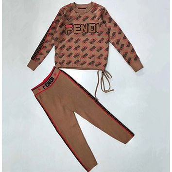 Fendi Women High collar Long Sleeve Top Pants Two-Piece