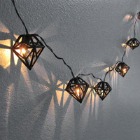 Black Diamond String Lights - 3D Printed Geometric Bulb Hanging Ornament Prism Himmeli Lighting Decor