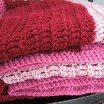 Crocheted blanket afghan throw in wine red rose pink (Ready to ship)